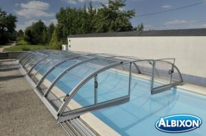 Abris piscine en kit Dallas Clear B Gris Clair