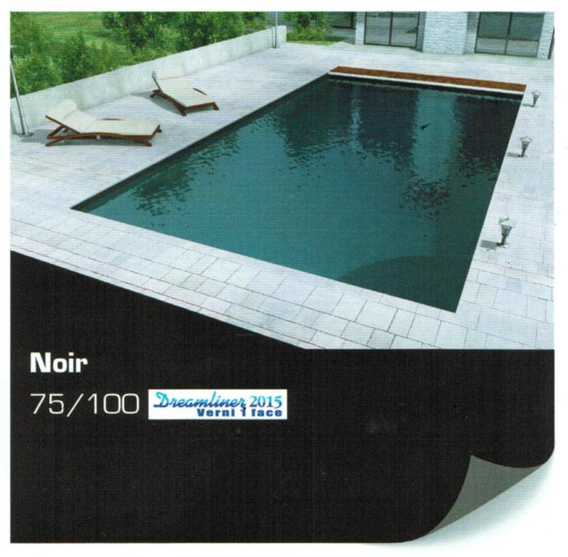 Rev tement liner piscine uni verni 75 100 alkorplan 2015 noir for Liner noir piscine