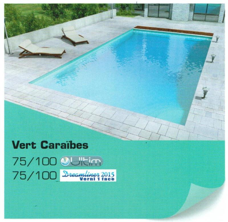 Rev tement liner piscine 75 100 uni ultim vert cara bes for Couleurs de liner pour piscine
