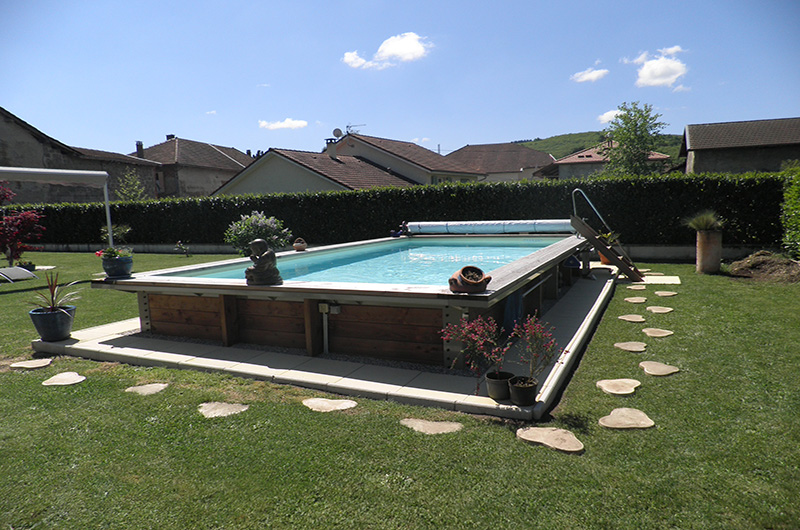 piscine hors sol ou semi enterr e acier et bois 7m x 3 50m. Black Bedroom Furniture Sets. Home Design Ideas