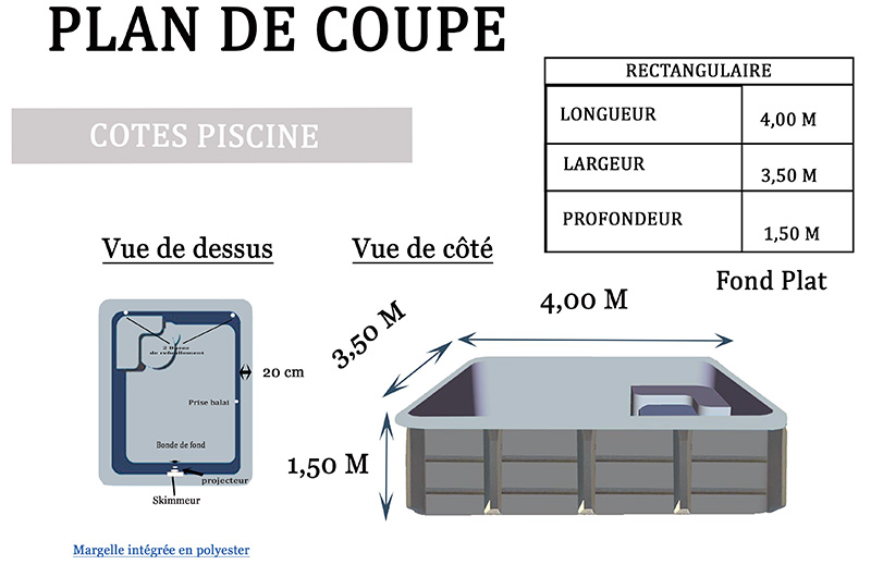 Piscine coque polyester RECTANGULAIRE 400