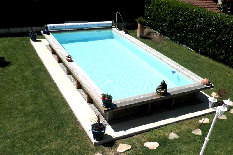 piscine ossature acier remplissage bois oc anide 5m x 3m avec bloc filtrant. Black Bedroom Furniture Sets. Home Design Ideas