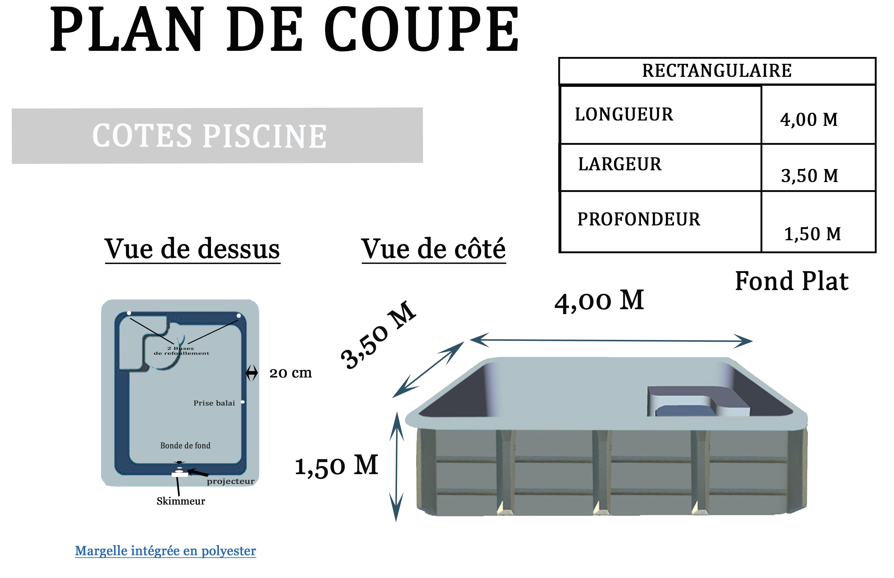 Plan piscine coque Rectangulaire 400